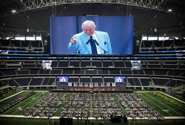 Jerry Jones, shown large on the video board, delivers his preseason message to those in attendance at the 2011 Dallas Cowboys Luncheon at Cowboys Stadium - The Boys Are Back blog