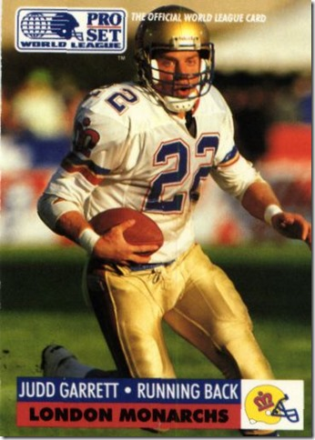 Judd Garrett runs downfield after catching one of his league high 71 passes in 1991 with the London Monarchs - The Boys Are Back blog