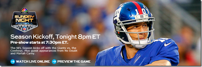 NBC NFL Season Opener - Dallas Cowboys vs NY Giants - The Boys Are Back blog