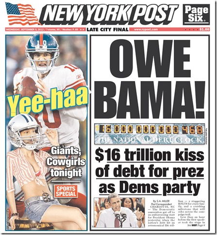 New York Post cover Sept. 5, 2012 - The Boys Are Back blog