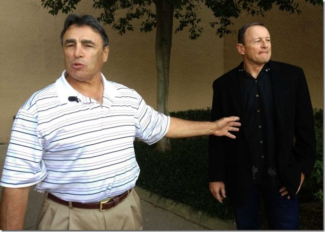 NFL head linesman Tom Stabile, left, and referee Ed Hochuli arrive at an Irving, Texas hotel Friday, Sept. 28, 2012 - The Boys Are Back blog