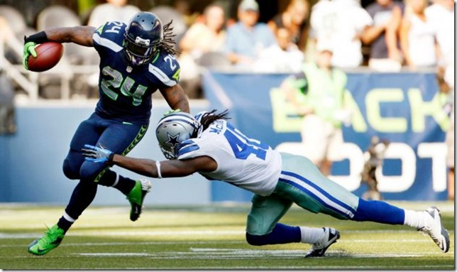Seattle Seahawks' Marshawn Lynch (24) rushes as Dallas Cowboys' Danny McCray - The Boys Are Back blog