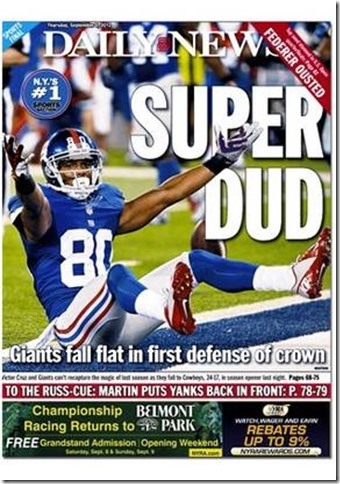 Sports cover of the New York Daily News - The Boys Are Back blog