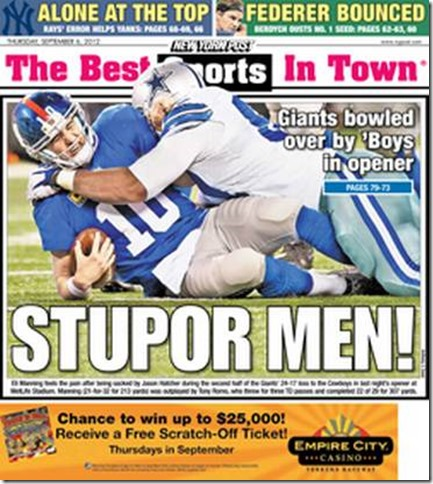 Sports cover of the New York Post - The Boys Are Back blog