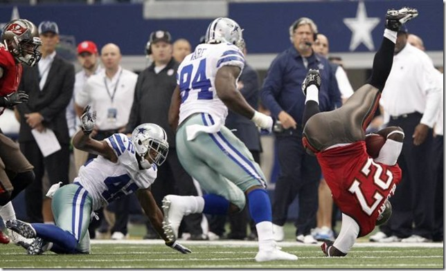 Tampa Bay Buccaneers running back LeGarrette Blount (27) falls awkwardly after getting up ended by Dallas Cowboys strong safety Barry Church - The Boys Are Back blog