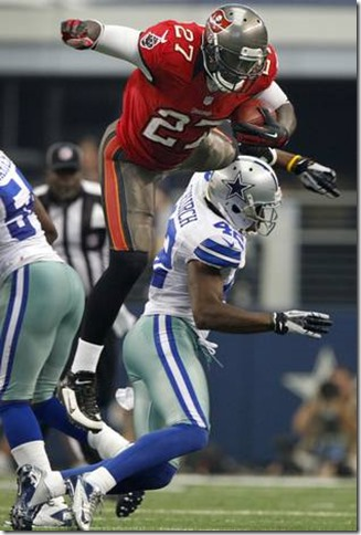 Tampa Bay Buccaneers running back LeGarrette Blount (27) tries to hurdle Dallas Cowboys strong safety Barry Church - The Boys Are Back blog