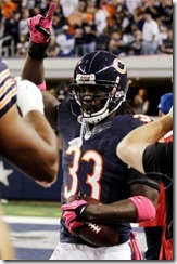 Chicago Bears cornerback Charles Tillman celebrates after returning an interception for a touchdown - The Boys Are Back blog