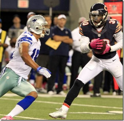 Chicago Bears cornerback D.J. Moore grabs an interception in front of Dallas Cowboys wide receiver Miles Austin - The Boys Are Back blog