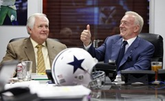 Dallas Cowboys coach Wade Phillips and owner Jerry Jones, in the war room during the first round of the NFL draft at Valley Ranch in Irving, Texas on April 22, 2010 - The Boys Are Back blog