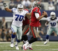 Dallas Cowboys defensive end Tyrone Crawford (70) applies pressure to Tampa Bay Buccaneers quarterback Josh Freeman - The Boys Are Back blog