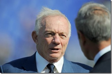 Dallas Cowboys owner Jerry Jones speaks with the Ravens' Dick Cass before kickoff - The Boys Are Back blog