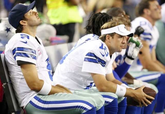 Dallas Cowboys' Tony Romo (from left) teammate Dallas Cowboys' Kyle Orton and others sit on the bench - The Boys Are Back blog