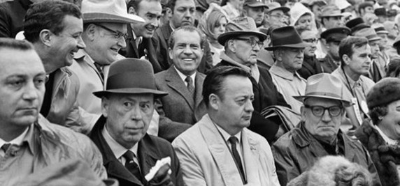 Nov. 16, 1969 - President Richard Nixon watching Washington Redskins play Dallas Cowboys RFK. Charles Bud Wilkinson, presidential assistant and former coach, at left - The Boys Are Back blog