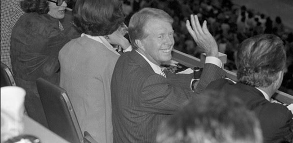 Oct. 2, 1978 - President Jimmy Carter waves as he watches Redskins and Cowboys in Washington. Seated beside his wife Rosalynn and Redskins owner Edward Bennett Williams - The Boys Are Back blog