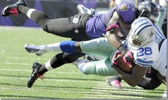 Raven Jameel McClain tackles Dallas Cowboys RB Felix Jones - The Boys Are Back blog