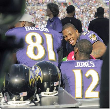 Ray Rice wipes Jacoby Jones' face after Jones returned a kickoff 108 yards for a touchdown - The Boys Are Back blog