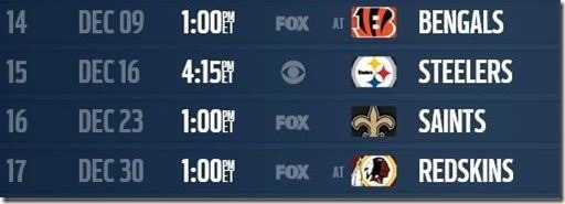 The Final Four - Dallas Cowboys 2012-2013 Schedule - The Boys Are Back blog