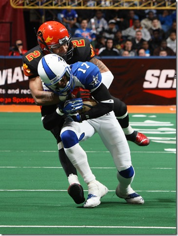 Anthony Armstrong #17 of the Dallas Desperados is tackled by Levy Brown of the New York Dragons - The Boys Are Back blog