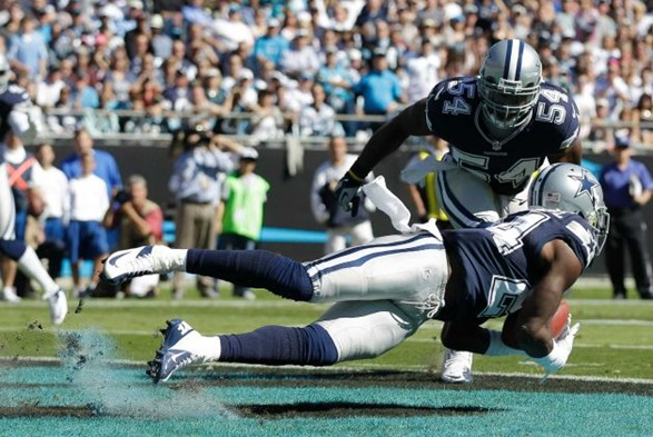Dallas Cowboys cornerback Morris Claiborne (24) picks off a Carolina Panthers quarterback Cam Newton - The Boys Are Back blog