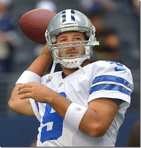 Dallas Cowboys quarterback Tony Romo warms up before the Cleveland Browns game - The Boys Are Back blog