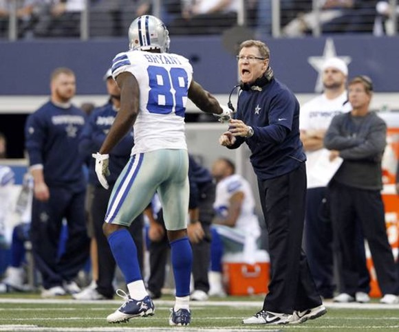 Dallas Cowboys receivers coach Jimmy Robinson talks with Dallas Cowboys wide receiver Dez Bryant - The Boys Are Back blog