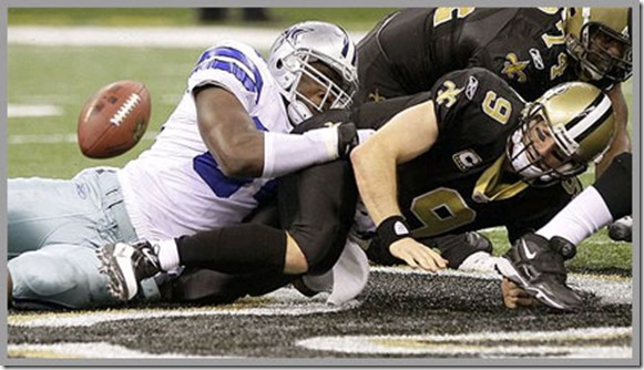Dallas Cowboys vs New Orleans Saints - The Boys Are Back blog - QB Sack and Fumble