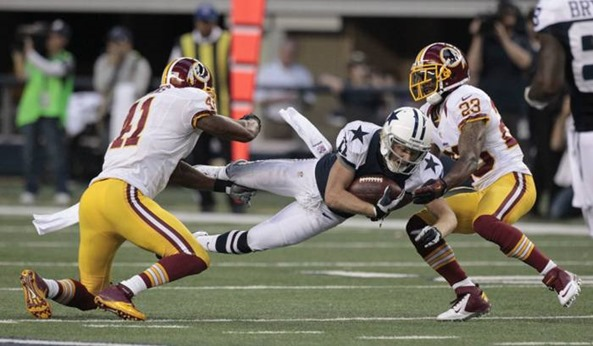 Dallas Cowboys wide receiver Cole Beasley (11) dives for yardage after a catch - The Boys Are Back blog