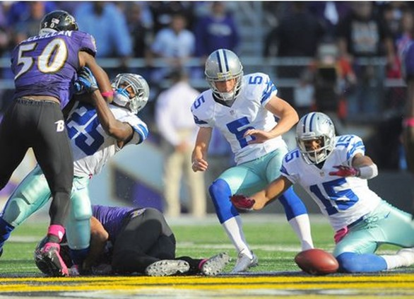 Dallas Cowboys WR Andre Holmes goes after an onside kick by Dan Bailey. The Cowboys recovered - The Boys Are Back blog