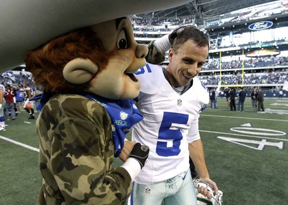 The Dallas Cowboys mascot Rowdy, congratulates Dan Bailey (5) on his game winning field goal against the Cleveland Browns - The Boys Are Back blog