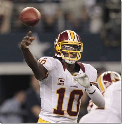 Washington Redskins quarterback Robert Griffin III (10) throws a pass against the Dallas Cowboys  2012 - The Boys Are Back blog