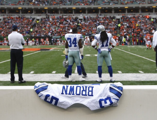 A jersey for Jerry Brown Jr. who died in an automobile accident lays on the Dallas Cowboys bench during play against the Cincinnati Bengals - The Boys Are Back blog