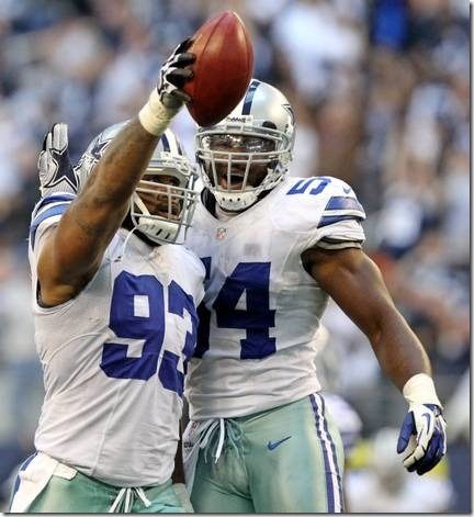 Dallas' Anthony Spencer (93) and DeMarcus Ware (94) celebrate after Spencer recovered a Cleveland fumble - The Boys Are Back blog
