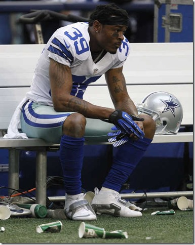 Dallas Cowboys cornerback Brandon Carr on the bench following the team's loss to the Saints - The Boys Are Back blog