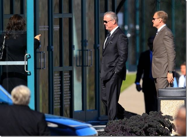 Dallas Cowboys Executives Stephen Jones, left, and Jerry Jones Jr. arrive at memorial service for Jerry Brown - The Boys Are Back blog