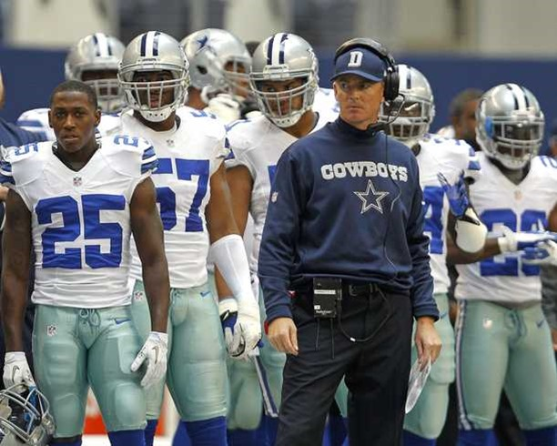 Dallas Cowboys head coach Jason Garrett and his team watch from the sidelines after the Browns scored a touchdown - The Boys Are Back blog