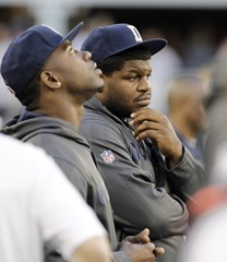 Dallas Cowboys Josh Brent, right, on the sidelines with teammates vs Pittsburgh Steelers 2012 - The Boys Are Back blog