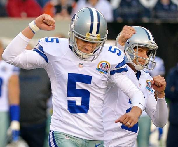 Dallas Cowboys kicker Dan Bailey (5) and Dallas Cowboys punter Brian Moorman (2) celebrate kicking the game winning field goal at the end of the fourth quarter - The Boys Are Back blog