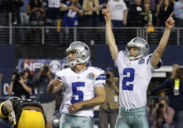 Dallas Cowboys kicker Dan Bailey (5) watches his winning kick sail through the uprights as teammate and holder Brian Moorman - The Boys Are Back blog