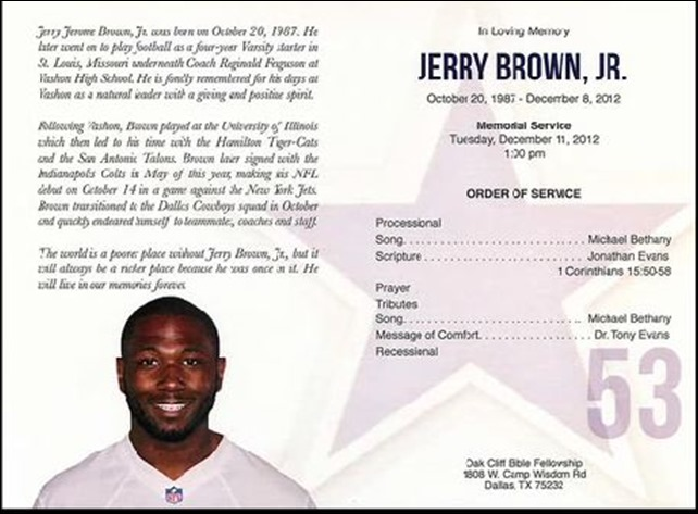 Dallas Cowboys linebacker Jerry Brown Jr. memorial service in Dallas - The Boys Are Back blog