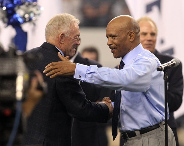 Dallas Cowboys owner Jerry Jones shakes hands with Drew Pearson, who was inducted into the Ring of Honor at Cowboys Stadium on Nov. 6, 2011 - The Boys Are Back blog