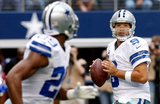 Dallas Cowboys quarterback Tony Romo (9) looks to pass the ball to running back DeMarco Murray - The Boys Are Back blog