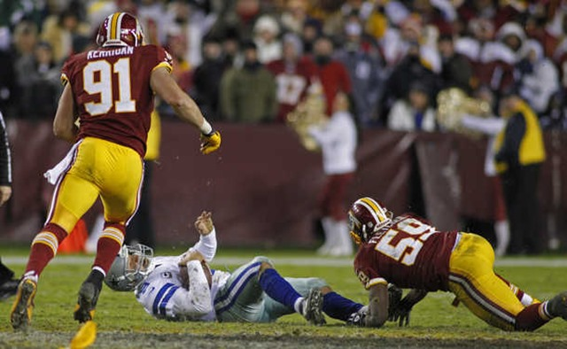 Dallas Cowboys quarterback Tony Romo is sacked for a loss by Washington Redskins inside linebacker London Fletcher - The Boys Are Back blog