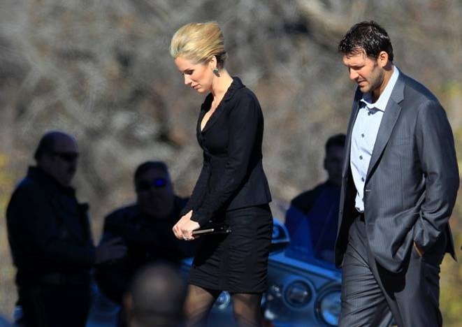 Dallas Cowboys quarterback Tony Romo, right, and his wife Candice, center, arrive at a memorial service for Jerry Brown - The Boys Are Back blog