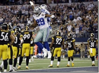 Dallas Cowboys running back DeMarco Murray (29) celebrates his touchdown against the Pittsburgh Steelers with Dez Bryant - The Boys Are Back blog