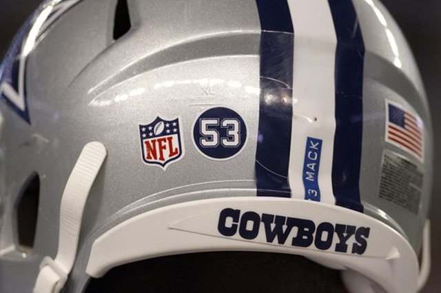 Dallas Cowboys tight end Jason Witten (82) and his teammates wore a number 53 sticker on their helmets in honor Jerry Brown Jr. - The Boys Are Back blog