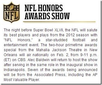 NFL Honors Awards Show 2012 - NFL Pro Bowl - The Boys Are Back blog
