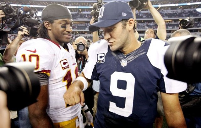 QBs Robert Griffin III (left) and Tony Romo may not be the featured matchup in Sunday's Redskins-Cowboys game - The Boys Are Back blog