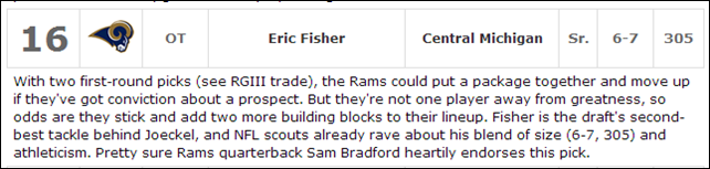 2013 DRAFT TALK - Eric Fisher - The Boys Are Back blog