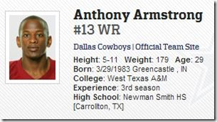 Dallas Cowboys wide receiver Anthony Armstrong profile - The Boys Are Back blog