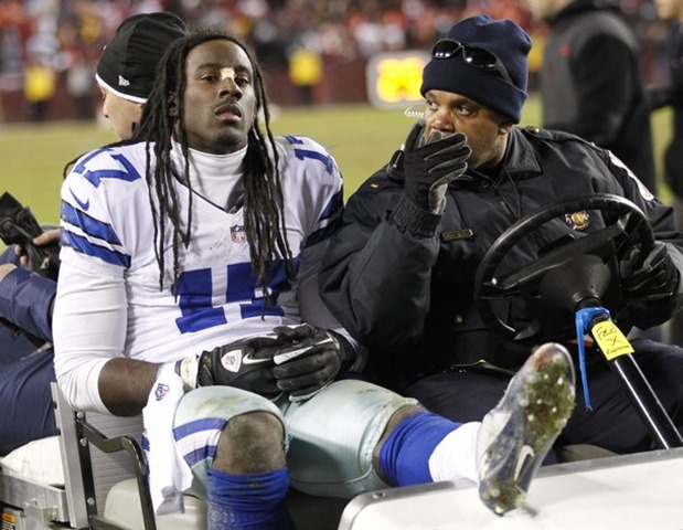 Dallas Cowboys wide receiver Dwayne Harris (17) is carted off the field vs Washington Redskins 2012 - The Boys Are Back blog